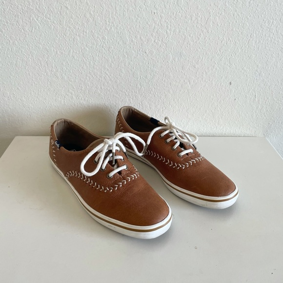 Keds tan baseball stitch vintage inspired sneakers